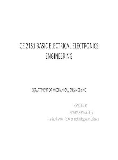 Ge 2151 Basic Electrical Electronics Engineering Pdf Document